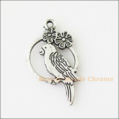 10 New Animal Parrot Birds Tibetan Silver Tone Charms Pendants 16x28mm