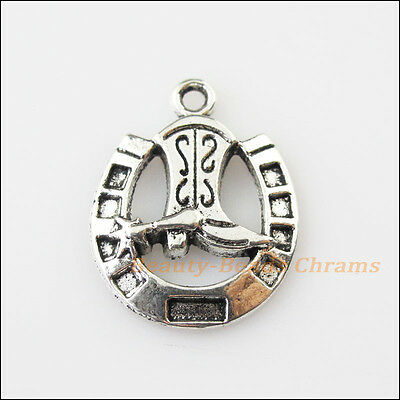 5 New Boots Horseshoes Tibetan Silver Tone Charms Pendants 19x24.5mm