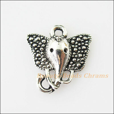 15 New Animal Elephant Head Tibetan Silver Tone Charms Pendants 17x21mm