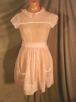 Vintage 50s 60s Girls Childs Dress Pink ORGANDY cotton 10 Sheer GC Party Lace