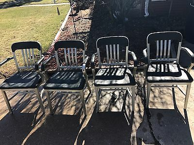 VINTAGE Goodform Aluminum Metal With Arms Chair Mid Century Industrial Set Of 4