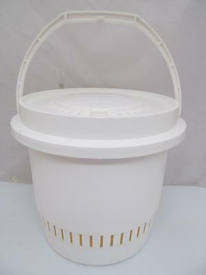 Vintage Flambeau Fishing Bait Bucket Model 12F2 White Plastic With Handle & Lid