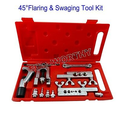 Tube Expander Tubing Expanding Tool Swaging Kit 5 Swages Repairing Conditioner