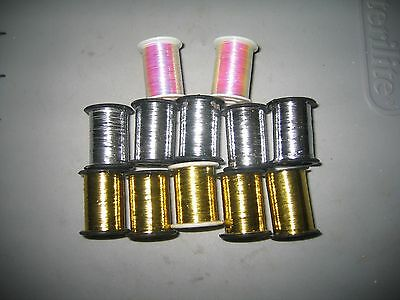 12 Spools of FINE Flat Mylar Tinsel..5-Gold, 5-Silver, 2-Pearl..COMBINE SHIPPING