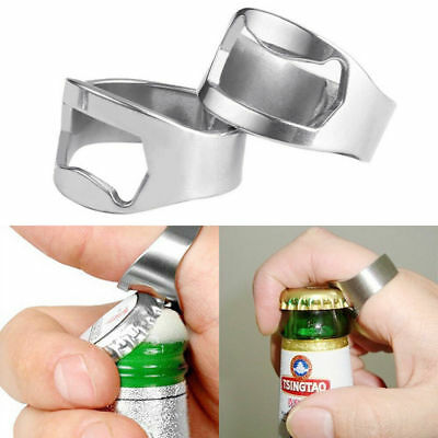 5pcs Silver Stainless Steel Finger Ring Bottle Opener Bar Beer tool Colors  NEW