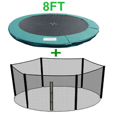 8FT Trampoline Replacement Spring Cover Padding Pad + Safety Net Bundle Green