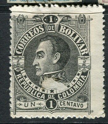 COLOMBIA BOLIVAR;  1891 early classic perf issue used 1c. value