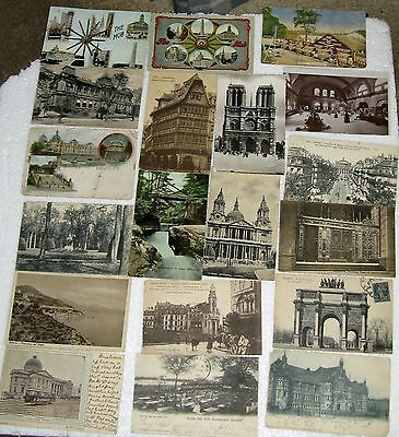 Postcards Foreign Lot of 19 Mixed Collectible/Vintage Black & White & Colored