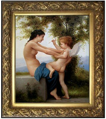 Framed Bouguereau Girl Defending Herself Repro, Quality Oil Painting, 20x24in