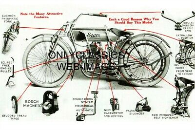 1913 Sears Motorcycle Advertising Photo Old Vintage Parts Display Early Racing