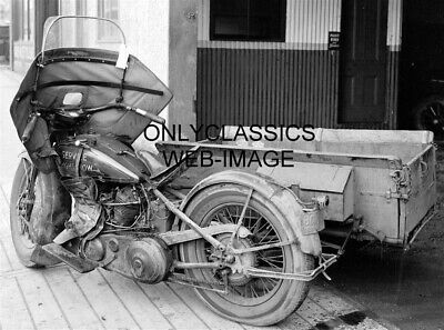 1931 Harley Davidson Motorcycle Sidecar Delivery Service Photo Vintage Old Iron