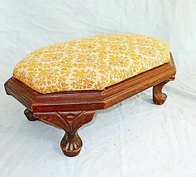 Antique Victorian Carved Foot Stool Ottoman Paw Feet Fancy Rectangle Upholstered