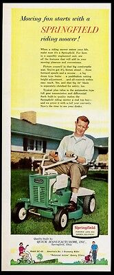 1959 Springfield riding lawn mower photo vintage print ad