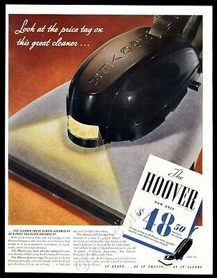 1941 Hoover 305 upright vacuum cleaner color photo vintage print ad