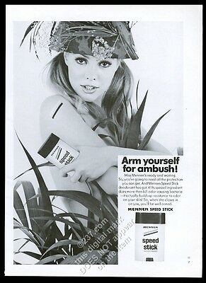 1968 Army camouflage woman photo Mennen Speed Stick vintage print ad