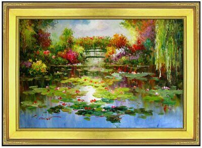 Framed, Monet Garden at Giverny Repro 2, Hand Painted Oil Painting 24x36in