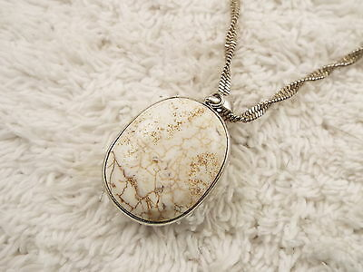 Twisted Silvertone Chain Marbled White Stone Pendant Necklace (A59)