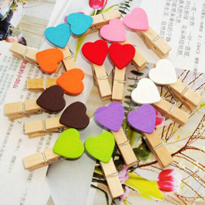 White W3J5 Small Mini Wooden Clothes Pegs Decorative Pegs with Hearts