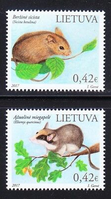 Lithuania 2017 set of MNH stamps WWF Northern birch mouse & Garden dormouse