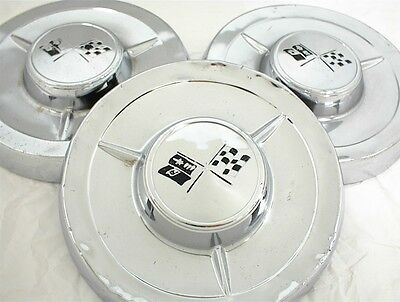 1958 Chevrolet Hubcaps Dog Dish Bowtie Poverty Caps 58 Chevy 1957 1959 1960 1961