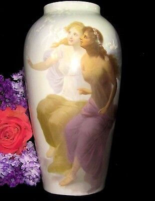 ANTIQUE Germany HAND PAINTED porcelain VASE Double PORTRAIT maidens HUGE signed