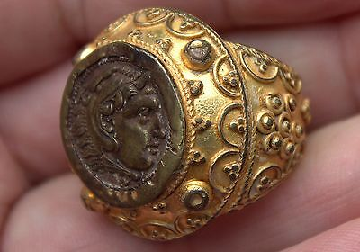 Very Old Bronze 23 Karat Yellow Gold Overlay Ring With Ancient Ceasar Ruler Coin