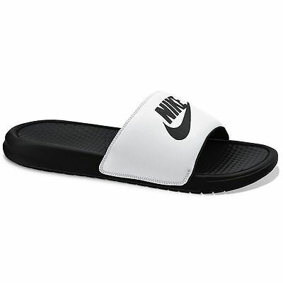 New Men's Nike Benassi JDI Slide Sandals White/Black size  8 9 10 11 12 13