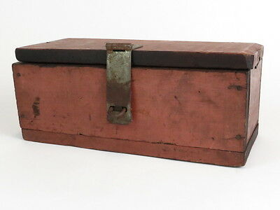 Antique Wooden Storage Box - Red Barn Wood - Primitive Shabby Chic