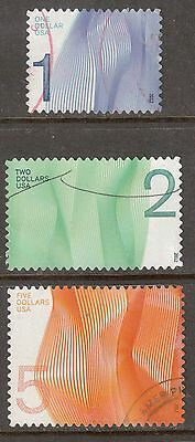 Scott #4717-19 Used Set of 3, One,Two & Five Dollar Waves of Color