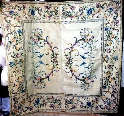 RARE Museum Quality Mid 18th Century Hand Painted & Silver Embroidered Coverlet