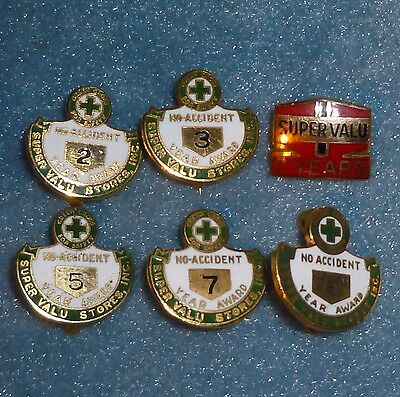 Vintage Super Valu Stores Safety Service Pin Lot