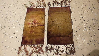 2 Antique VICTORIAN VELVET DYED FRINGED TABLE RUNNERS Gold, Maroon