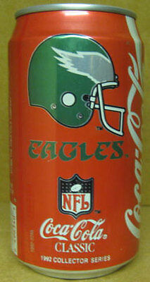 COCA-COLA 1992 PHILADELPHIA EAGLES Coke Soda CAN Football Team PENNSYLVANIA gd.1