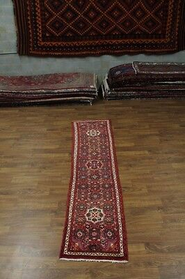 Allover Handmade Hossainabad Narrow Persian Runner Oriental Area Carpet 2'6X10