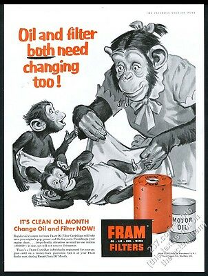 1956 chimp chimpanzee mom and baby art Fram Filters vintage print ad