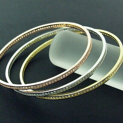 Genuine Real 14K Rose Yellow White Vermeil Gold Diamond Simulated Russian Bangle