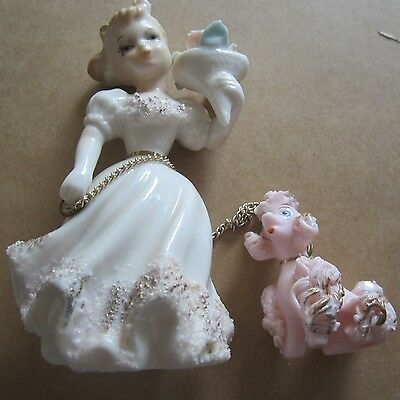 Vintage Ceramic Pink Spaghetti Poodle Girl & Chain Mid Century Retro 1950S 1960S