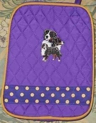Q lunch BERNESE MOUNTAIN DOG Quilted PURPLE Insulated Fabric Lunch Sack Bag