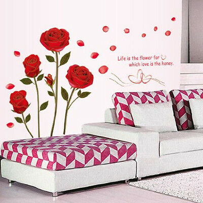 Red Rose Wall Decal Mural Removable Flowers Wall Stickers Vinyl Art Home Decor