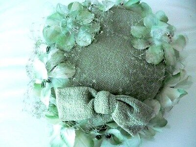 vintage HAT (pillbox) Aunty Pearl strikes again wth green floral + net glamour!
