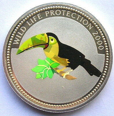 Congo 2000 Toucan10 Francs Hologram Silver Coin,Proof