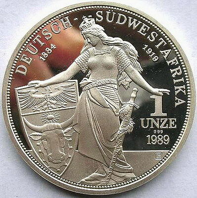 Namibia 1989 German Colony West South Africa 1oz Silver Coin,Proof,Rare!