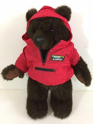 "LL Bean teddy bear plush 18"" vintage with red parka coat dark brown"