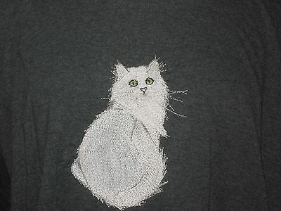 New  White Long Haired Cat Embroidered T-Shirt Add Name For Free