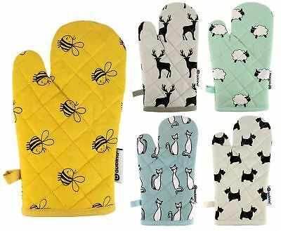 Luxury Animal Printed Oven Mitts Heavy Duty Heat Resistant Gloves 100% Cotton