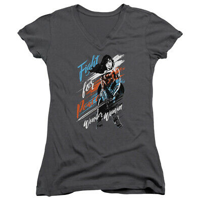 Wonder Woman Movie Fight For Peace Junior V Neck T Shirt