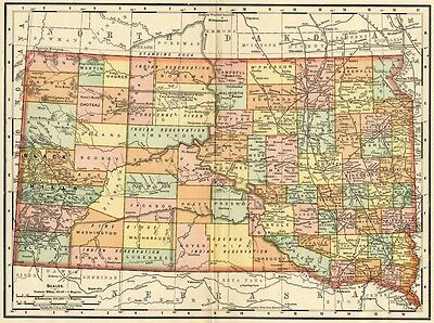South Dakota Map: Authentic 1895 (Dated) with Towns, Counties, Railroads & More