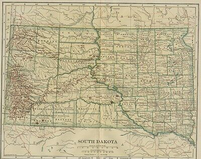 SOUTH DAKOTA Map: 100 Years Old showing Counties, Towns, Topography, Railroads