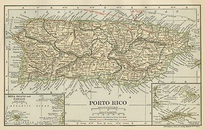 Puerto Rico Map (SMALL) Genuine 1907 (Dated) Cities, Ports, Sea Lanes, Topo, RRs