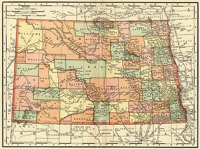 North Dakota Map: Authentic 1895 (Dated) with Towns, Counties, Railroads & More